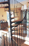 Detail view of wrought iron balustrade on your left