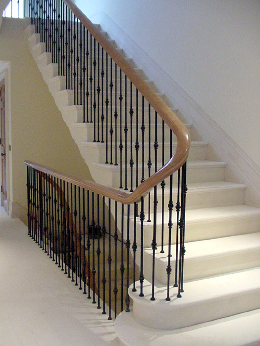 Curved section of steel balustrade