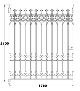 Stirling GA025 cast iron twelve foot wide driveway gates