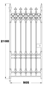 Stirling GA028 three foot wide cast iron pedestrian gate