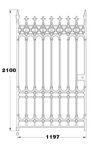 Stirling GA114 cast iron four foot wide pedestrian gate