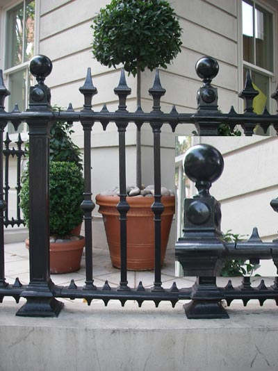 Newly installed cast iron railings in a classic style at Palace Gate in London