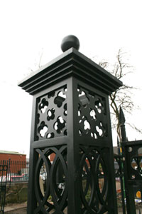 Laser cut mild steel patterns cut for this church pedestrian gate