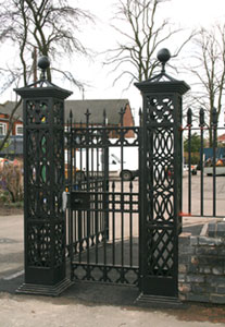 A church pedestrian gate made from cast iron and mild steel in Darlaston, West Midlands