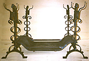 wrought iron fire dogs and fire furniture