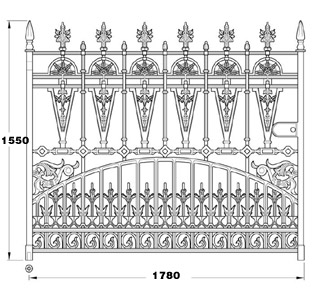 Gilberton GA012 cast iron twelve foot wide driveway gates