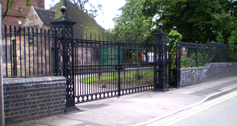 Cast iron and mild steel security gates for a church in Darlaston, West Midlands