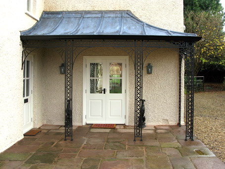 Mild steel porch with a lead canopies