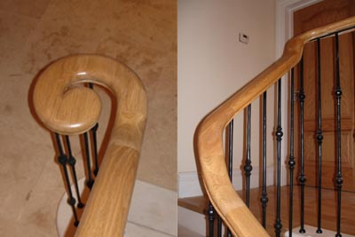 Monkey tail finish on this bull nose tread of a marble staircase