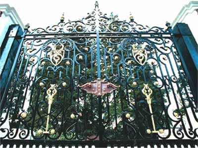 restored wrought iron gates in Pontypool, Wales