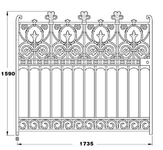 Prospect GA032 cast iron twelve foot wide driveway gates