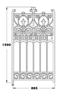 Prospect cast iron 900mm wide pedestrian gate GA034