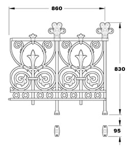 Prospect cast iron railing panel GA133A