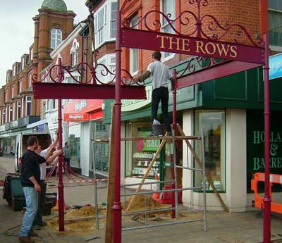 Seaside ironwork being assembled and installed in Yarmouth Norfolk England