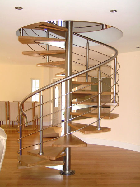 polished chromed or satin brushed stainless steel spiral staircases