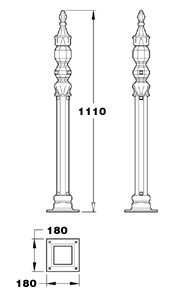 Stewart GA003 half height Victorian cast iron railing post