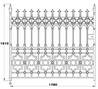 Stewart GA006 cast iron twelve foot wide driveway gates