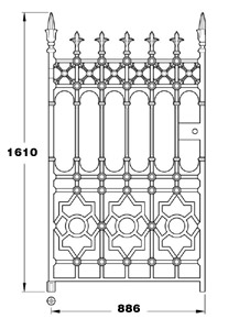 Stewart GA007 900mm wide cast iron pedestrian gate