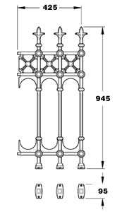 Stewart GA008A half height Victorian cast iron railing panel