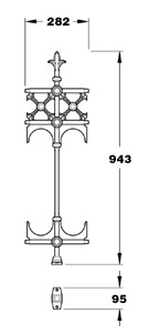 Stewart GA017A half height Victorian cast iron railing joiner panel with feet