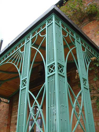 close up of the decorative metalwork used to construct this porch