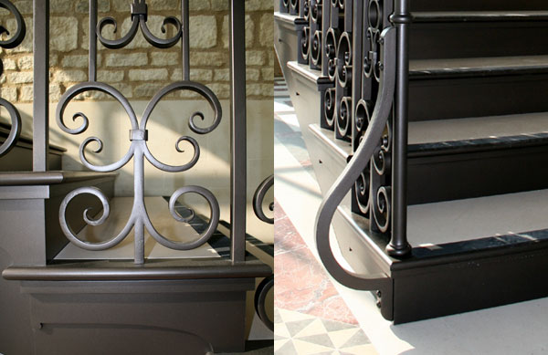 profiled iron handrail finished with a bronze patina