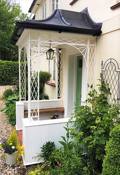Traditional Trellis Ironwork Portico Porch on Dwarf Wall with Lead Roof Frame Canopy Cover and cast iron shoe covers