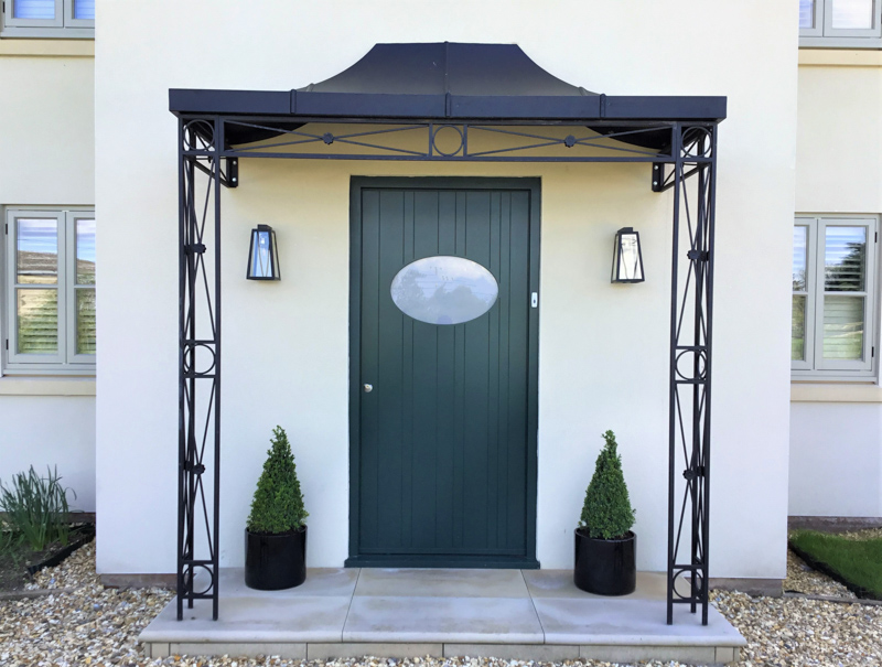 Decorative Deco deisng Metal Portico Wrought Iron porch with Zinc Powder-coated Lead Roof Canopy