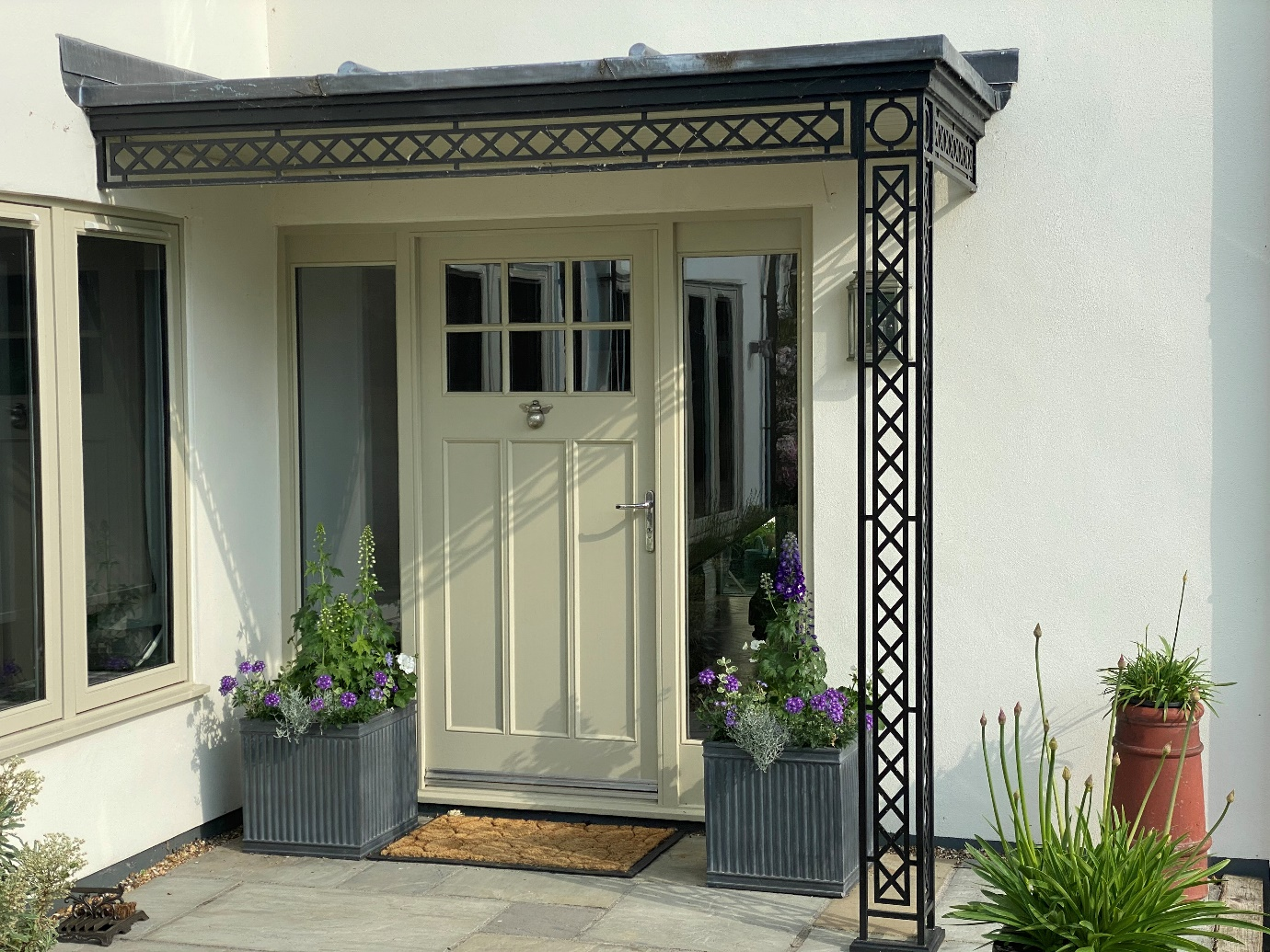 Modern Contemporary Georgian style Metal Corner Porch awning Georgian with Flat Leaded Roof Canopy Cover