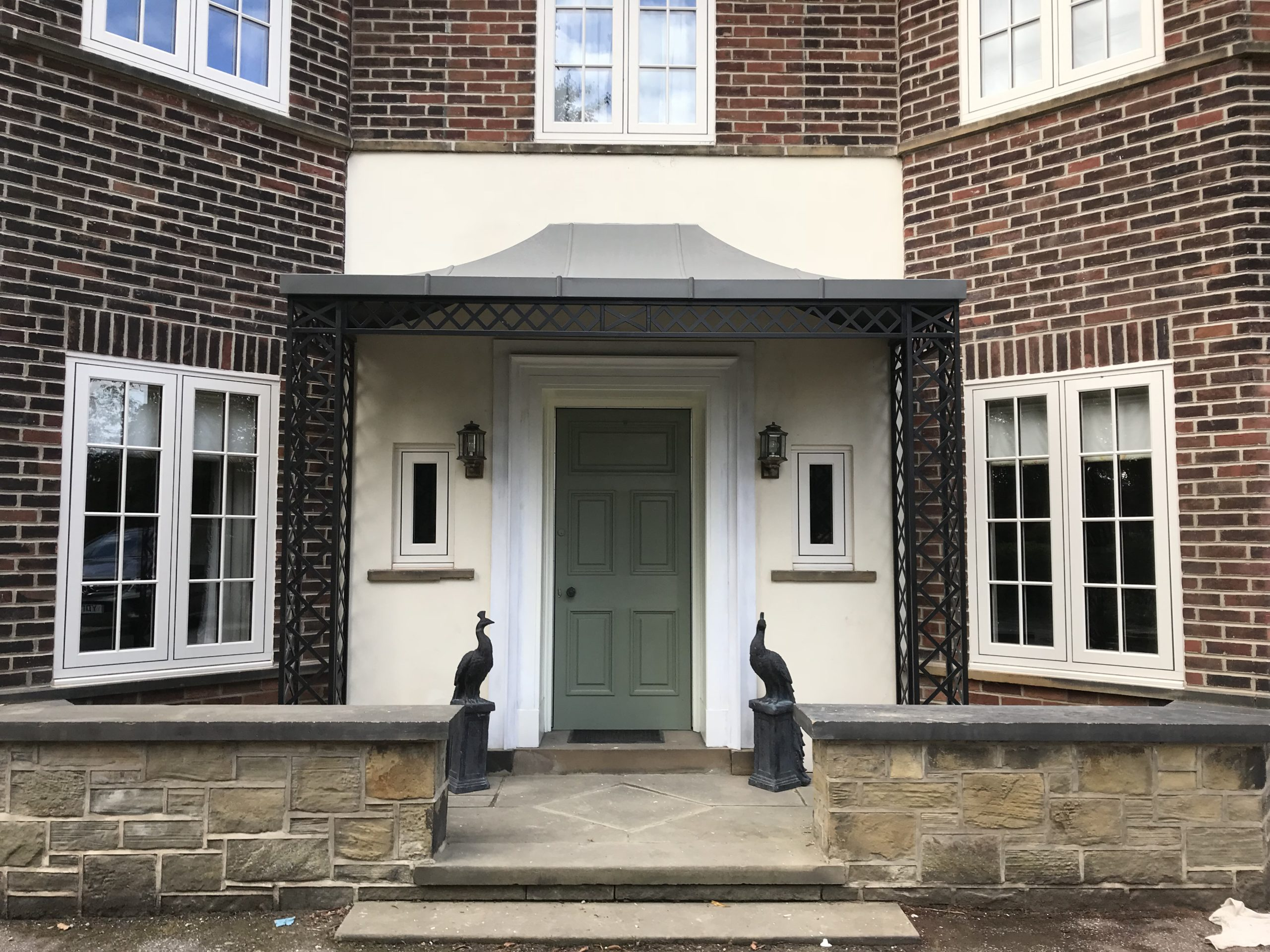 Laser profile cut metal Regency wide design Double Width Porch awning with Complete Zinc Canopy Roof Cover Powder Coated in Lead grey colour