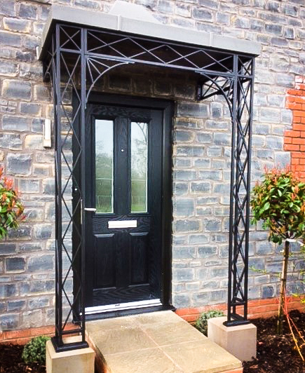 Wrought Iron Porch with Lined & Leaded Canopy