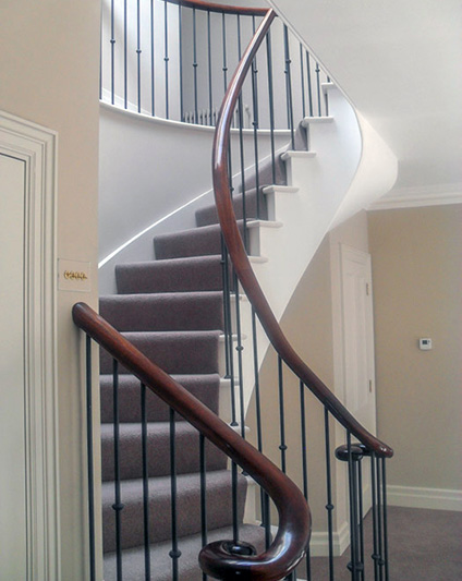 Forged Iron Balustrade with Walnut Handrail