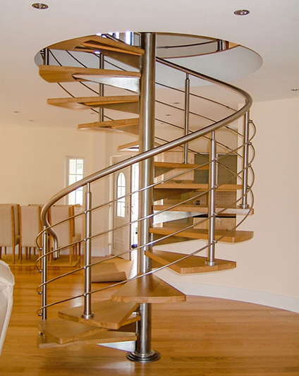 Spiral Staircase - Stainless Steel with Oak Treads