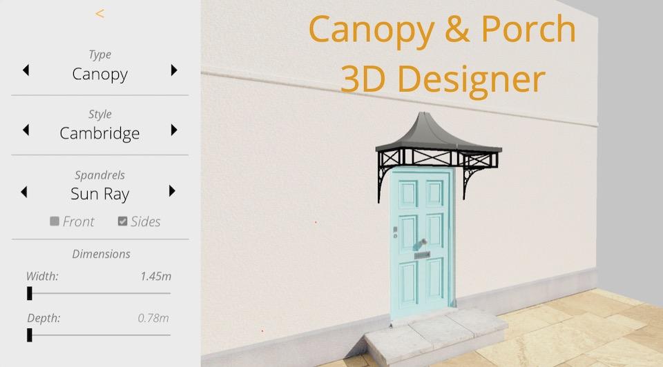 Metal Door Canopy and Porch 3D Designer